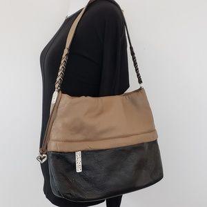 Brighton Purse Leather Tan + Black Shoulder Bag